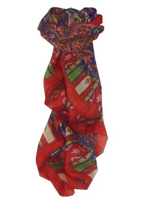 Mulberry Silk Traditional Square Scarf Aimee Red by Pashmina & Silk
