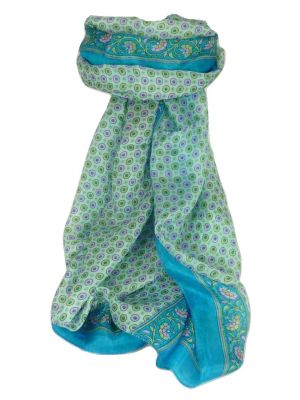 Mulberry Silk Contemporary Long Scarf Wazir Aquamarine by Pashmina & Silk