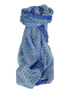 Mulberry Silk Contemporary Long Scarf Wazir Blue by Pashmina & Silk