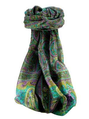 Mulberry Silk Traditional Long Scarf Ramnagar Charcoal by Pashmina & Silk