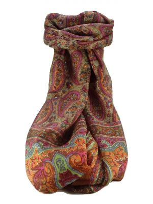 Mulberry Silk Traditional Long Scarf Ramnagar Copper by Pashmina & Silk