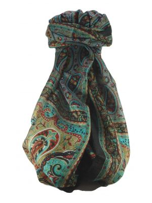 Mulberry Silk Traditional Long Scarf Ramnagar Black by Pashmina & Silk