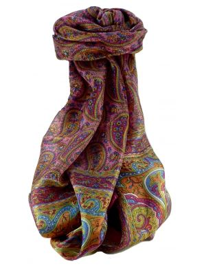 Mulberry Silk Traditional Long Scarf Ramnagar Rose by Pashmina & Silk