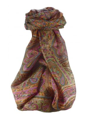 Mulberry Silk Traditional Long Scarf Madh Chestnut by Pashmina & Silk