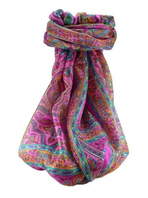 Mulberry Silk Traditional Long Scarf Madh Pink by Pashmina & Silk
