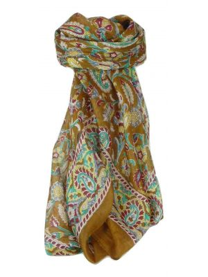 Mulberry Silk Traditional Square Scarf Sai Chestnut by Pashmina & Silk