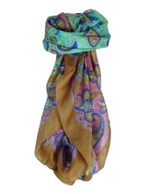 Mulberry Silk Traditional Square Scarf Zyan Chestnut by Pashmina & Silk