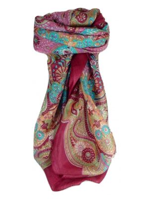 Mulberry Silk Traditional Square Scarf Zyan Carnation by Pashmina & Silk