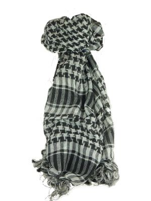 Keffiyeh Arab Grid Scarf Black & White by Pashmina & Silk