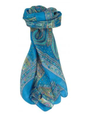 Mulberry Silk Traditional Square Scarf Zilli Aquamarine by Pashmina & Silk