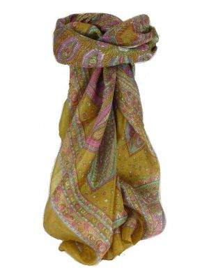 Mulberry Silk Traditional Square Scarf Zilli Gold by Pashmina & Silk