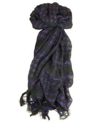 Keffiyeh Arab Grid Scarf Black & Violet by Pashmina & Silk