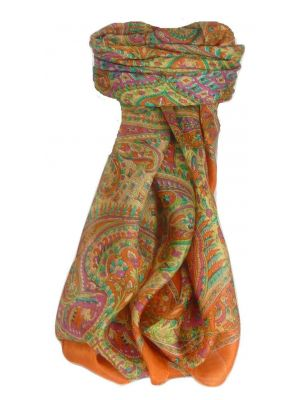 Mulberry Silk Traditional Square Scarf Zazim Terracotta by Pashmina & Silk