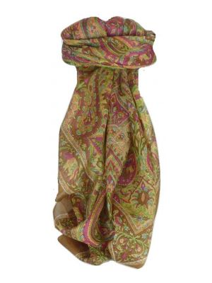 Mulberry Silk Traditional Square Scarf Zazim Chestnut by Pashmina & Silk