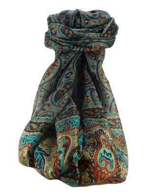 Mulberry Silk Traditional Long Scarf Couum Black by Pashmina & Silk
