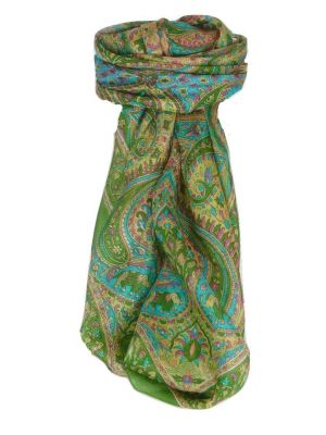 Mulberry Silk Traditional Square Scarf Zazim Sage by Pashmina & Silk