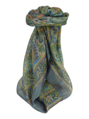 Mulberry Silk Traditional Square Scarf Zazim Charcoal by Pashmina & Silk