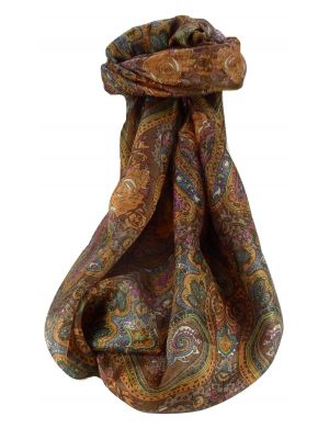 Mulberry Silk Traditional Long Scarf Worli Chestnut by Pashmina & Silk