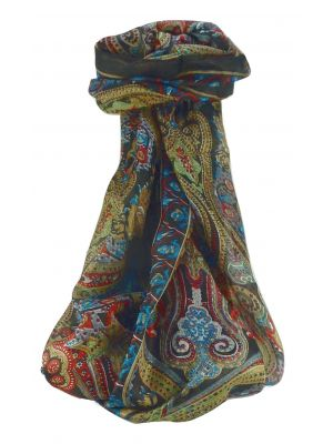 Mulberry Silk Traditional Long Scarf Worli Black by Pashmina & Silk
