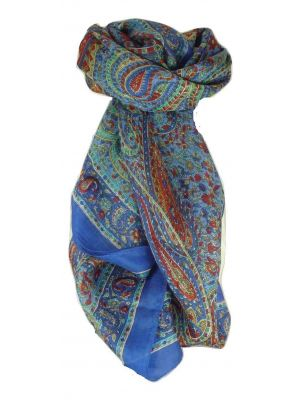 Mulberry Silk Traditional Square Scarf Zorn Blue by Pashmina & Silk