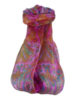 Mulberry Silk Traditional Long Scarf Worli Pink by Pashmina & Silk