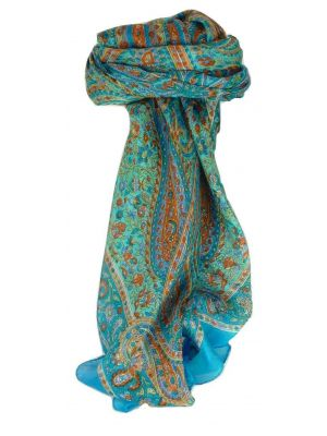 Mulberry Silk Traditional Square Scarf Zorn Aquamarine by Pashmina & Silk