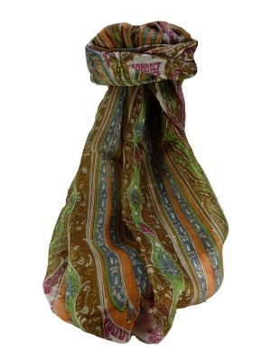 Mulberry Silk Traditional Long Scarf Tali Chestnut by Pashmina & Silk