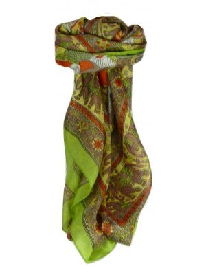 Mulberry Silk Traditional Square Scarf Usman Sage by Pashmina & Silk