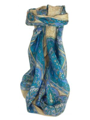 Mulberry Silk Traditional Square Scarf Patia Aquamarine by Pashmina & Silk