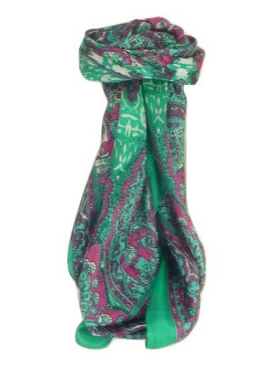 Mulberry Silk Traditional Square Scarf Patia Emerald by Pashmina & Silk