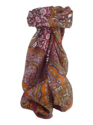Mulberry Silk Traditional Square Scarf Patia Wine by Pashmina & Silk