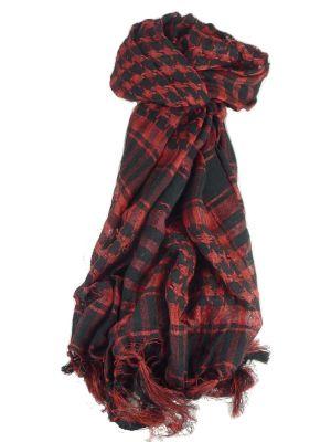 Keffiyeh Arab Grid Scarf Black & Red by Pashmina & Silk