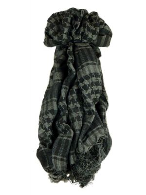 Keffiyeh Arab Grid Scarf Black & Grey by Pashmina & Silk