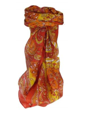 Mulberry Silk Traditional Square Scarf Vashta Flame by Pashmina & Silk