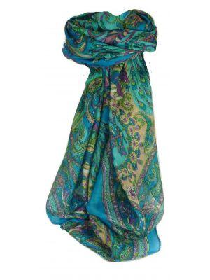 Mulberry Silk Traditional Square Scarf Vashta Aquamarine by Pashmina & Silk