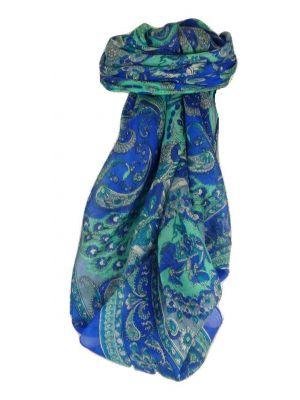 Mulberry Silk Traditional Square Scarf Vashta Blue by Pashmina & Silk