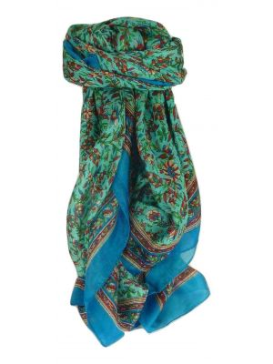 Mulberry Silk Traditional Square Scarf Ulla Aquamarine by Pashmina & Silk
