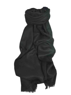 Pashtoosh Luxury Cashmere Stole Black by Pashmina & Silk