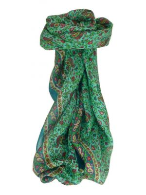 Mulberry Silk Traditional Square Scarf Bashia Teal by Pashmina & Silk