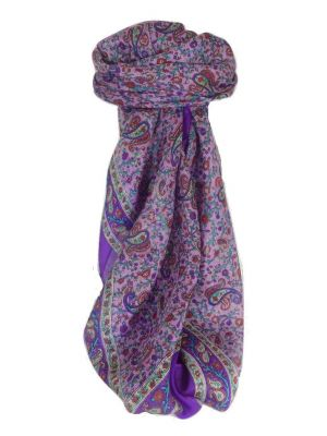 Mulberry Silk Traditional Square Scarf Bashia Violet by Pashmina & Silk