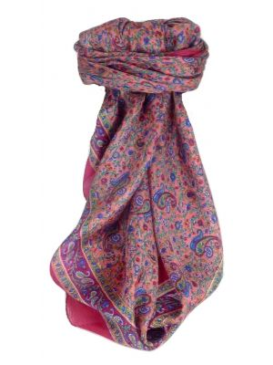 Mulberry Silk Traditional Square Scarf Bashia Carnation by Pashmina & Silk