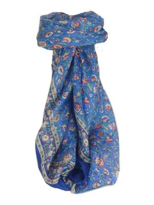 Mulberry Silk Traditional Square Scarf Imri Blue by Pashmina & Silk