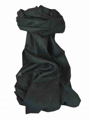Finest Cashmere Damask Weave Ring Stole in Black by Pashmina & Silk