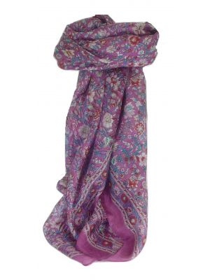 Mulberry Silk Traditional Square Scarf Patil Violet by Pashmina & Silk