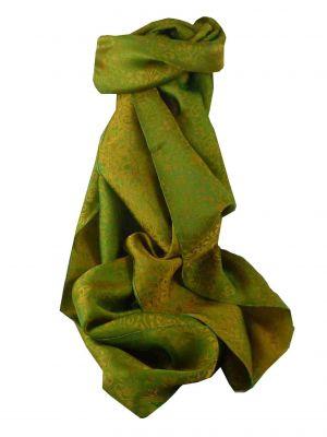 Vietnamese Silk Scarf Reversible Hoi-An Xen-Ban Jade & Olive by Pashmina & Silk