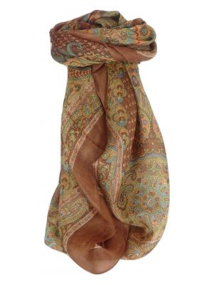 Mulberry Silk Traditional Square Scarf Sudha Chestnut by Pashmina & Silk
