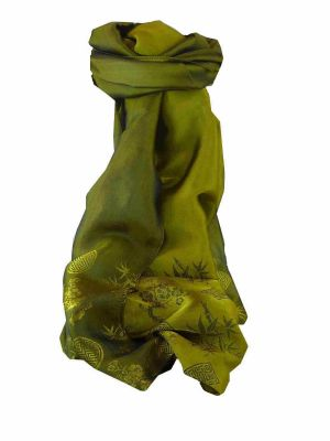 Vietnamese Silk Scarf Reversible Hoi-An Tro-Tram Olive by Pashmina & Silk