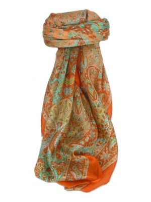 Mulberry Silk Traditional Square Scarf Soli Terracotta by Pashmina & Silk