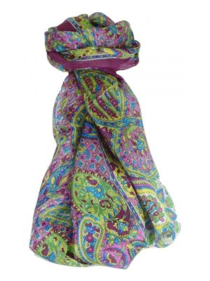 Mulberry Silk Traditional Long Scarf Rajeet Violet by Pashmina & Silk