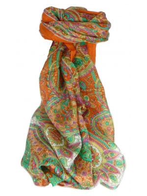 Mulberry Silk Traditional Long Scarf Rajeet Terracotta by Pashmina & Silk